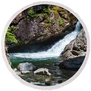 Small Waterfall In Mountain Stream Round Beach Towel by Kirt Tisdale