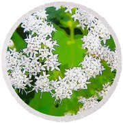 Small White Flowers Round Beach Towel