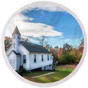 Small Wooden Church In The Countryside During Autumn Round Beach Towel
