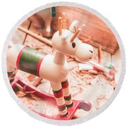 Small Xmas Reindeer On Wood Shavings In Workshop Round Beach Towel