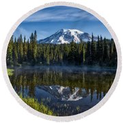 Misty Morning At Reflection Lake Round Beach Towel