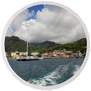 Round Beach Towel featuring the photograph Smalll Village by Gary Wonning
