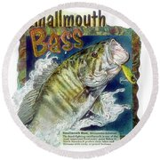 Smallmouth Bass Round Beach Towel