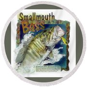 Round Beach Towel featuring the drawing Smallmouth Bass by John Dyess