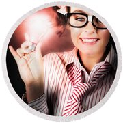 Smart Business Person Holding Light Bulb In Hand Round Beach Towel