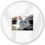 Round Beach Towel featuring the mixed media Smart Cat by Charles Shoup