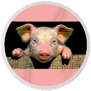 Round Beach Towel featuring the mixed media Smart Pig by Charles Shoup