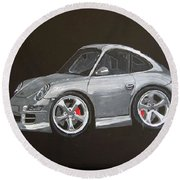Round Beach Towel featuring the painting Smart Porsche by Richard Le Page