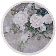 Round Beach Towel featuring the painting Smell The Roses  by Laura Lee Zanghetti
