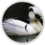 Smew Round Beach Towel by Living Color Photography Lorraine Lynch