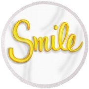Round Beach Towel featuring the drawing Smile by Cindy Garber Iverson
