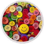 Smiley Face Button Round Beach Towel