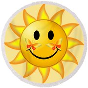 Smiley Face Sun Round Beach Towel by Robert G Kernodle