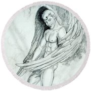 Smiling Angel Round Beach Towel