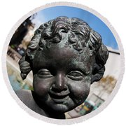 Smiling Cherub Round Beach Towel