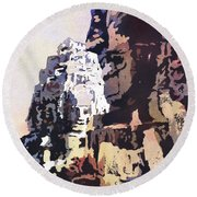 Round Beach Towel featuring the painting Smiling Faces- Bayon Temple, Cambodia by Ryan Fox