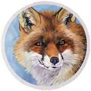 Smiling Fox Round Beach Towel