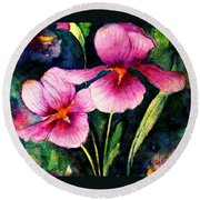 Smiling Iris Faces  Round Beach Towel by Hazel Holland