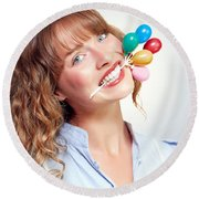 Smiling Party Person With Birthday Balloons Round Beach Towel
