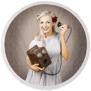 Smiling Vintage Woman Hearing Good News On Phone Round Beach Towel