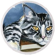 Smilla - Maine Coon Cat Painting Round Beach Towel