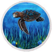 Smirking Turtle Round Beach Towel