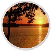 Smith Mountain Lake Silhouette Sunset Round Beach Towel