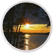Smith Mountain Lake Summer Sunet Round Beach Towel