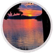 Smith Mountain Lake Sunset Round Beach Towel