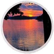 Smith Mountain Lake Sunset Round Beach Towel