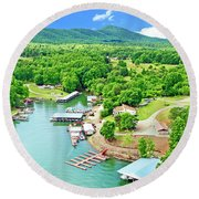 Smith Mountain Lake, Virginia. Round Beach Towel