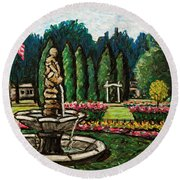 Smith Park Fountain Plein Aire Round Beach Towel
