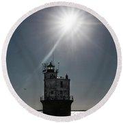 Smith Point Lighthouse Round Beach Towel