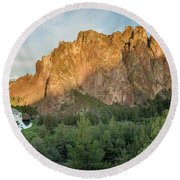 Round Beach Towel featuring the photograph Smith Rock First Light by Greg Nyquist