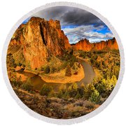 Smith Rock Panorama Round Beach Towel
