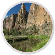 Round Beach Towel featuring the photograph Smith Rock Spires by Greg Nyquist
