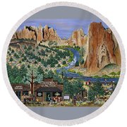 Smith Rock State Park Round Beach Towel