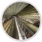 Smithsonian Metro Station Round Beach Towel by Shelley Neff