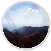 Smoke Of The Smokies Round Beach Towel by Cathy Harper