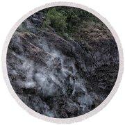 Smoke On Mount Vesuvius Round Beach Towel