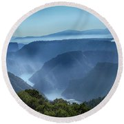 Smoke Over Flaming Gorge Round Beach Towel