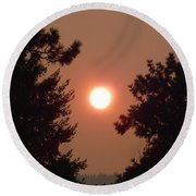 Round Beach Towel featuring the photograph Smoke Shrouded Sun   by Will Borden