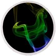 smoke XXIV Round Beach Towel by Joerg Lingnau