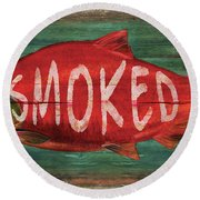 Smoked Fish Round Beach Towel