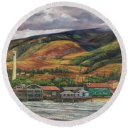 Round Beach Towel featuring the painting Smokestack Lahaina Maui by Darice Machel McGuire