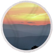 Smokey Mnt Sunset Round Beach Towel