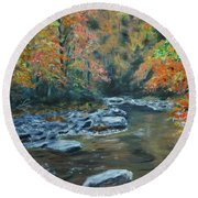 Smokey Mountain Autumn Round Beach Towel