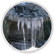 Smokey Stoves Frozen Falls Round Beach Towel