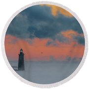 Smokey Sunrise At Ram Island Ledge Light Round Beach Towel