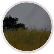 Round Beach Towel featuring the photograph Smokey Sunset by AJ Schibig